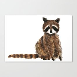 baby raccoon watercolor Canvas Print