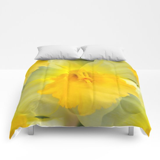 Endless Yellow Daffodil Comforters