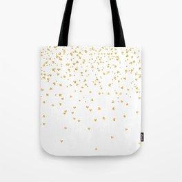 Falling hearts gold glitter confetti - Heart Love Valentine Tote Bag