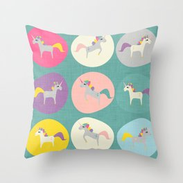 Cute Unicorn polka dots teal pastel colors and linen texture #homedecor #apparel #stationary #kids Throw Pillow