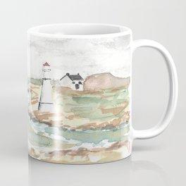 Maritime Lighthouse Seascape Watercolor Coffee Mug