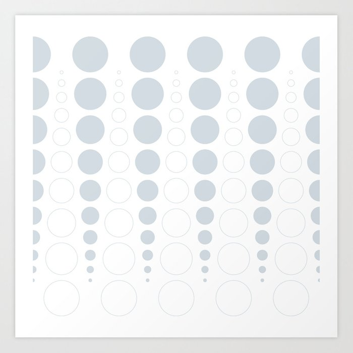 Up and down polka dot pattern in white and a pale icy gray Art Print