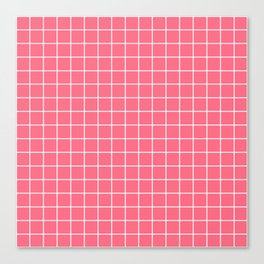 Wild watermelon - pink color - White Lines Grid Pattern Canvas Print