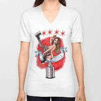 blackhawks V-neck T-shirts featuring Chicago Cup win 2015 pin up girl by Carla Wyzgala by carlations: Carla Wyzgala illustrations