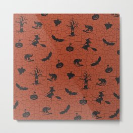 Halloween pattern on crackle orange background Metal Print