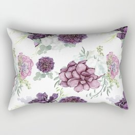 Succulents Deep Violet Lavender Pastel Green Lilac PatternSee Nature Magick for more pretty pastel c Rectangular Pillow