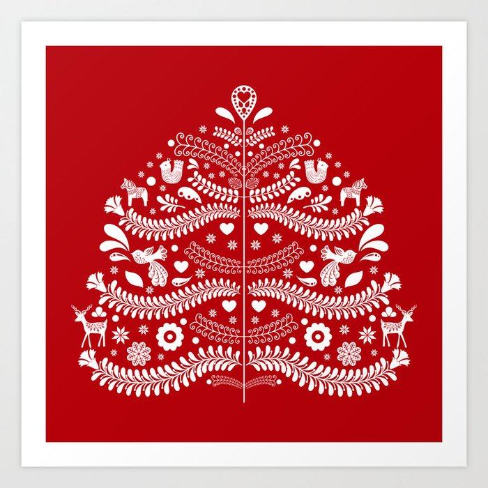 Scandinavian Folk Art Christmas Tree Kunstdrucke