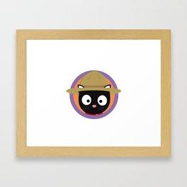 Park ranger cat in purple circle Framed Art Print