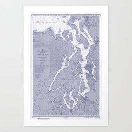 Puget Sound Washington State Nautical Chart Map Print 1956 Blue, Map Art Prints Art Print