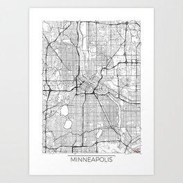 Minneapolis Map White Art Print