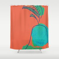 pear Shower Curtains featuring Pear by Monta Ulman