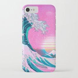 Vaporwave Aesthetic Great Wave Off Kanagawa Synthwave Sunset iPhone Case
