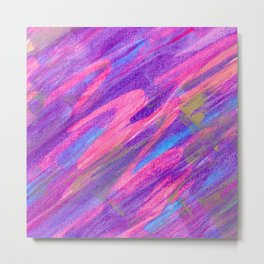 Pink Candy Inspired Abstract with Gold Accents Metal Print