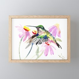 Hummingbird and Light Purple Flowers, birds and flowers Framed Mini Art Print