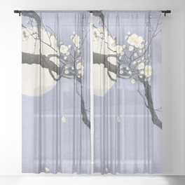 Full Moon and blossom Sheer Curtain