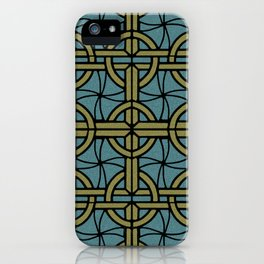 Stained Glass - Teal and Tan iPhone Case