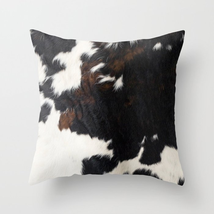 Cowhide Farmhouse Decor Throw Pillow