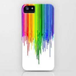 Rainbow Paint Drops on White iPhone Case