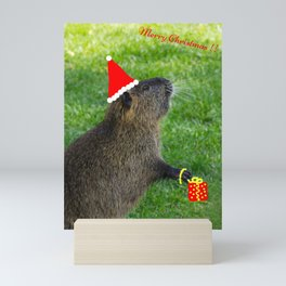 just for fun - a nutria santa ??? Mini Art Print