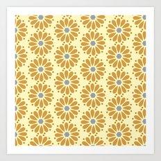 Golden floral on beige Art Print