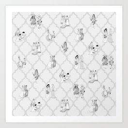 Royal Pattern Grey Art Print