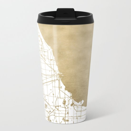 Chicago Gold and White Map Metal Travel Mug