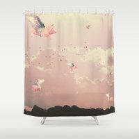 pigs Shower Curtains featuring Flying Pigs by Raven haylin