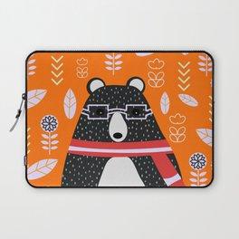 Bear in floral rain Laptop Sleeve