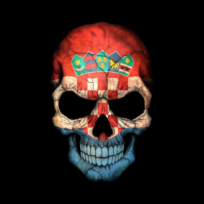 Dark Skull with Flag of Croatia Duvet Cover