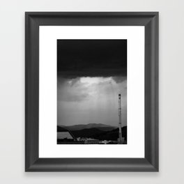 Stormy city in Black and White Framed Art Print