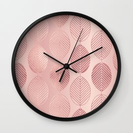 Rose Gold Leaf Pattern Wall Clock