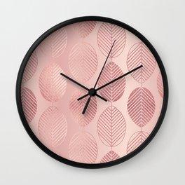 Rose Gold Leaf Pattern Wall Clock