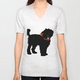 Black Labradoodle dog Unisex V-Neck