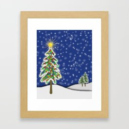 Lighted Christmas Tree at Night with Snowflakes Framed Art Print