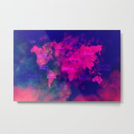 world map 114 3D #worldmap #map Metal Print
