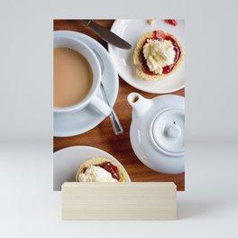 Afternoon tea with cream and jam scones Mini Art Print