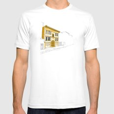 Yellow San Francisco Haus White SMALL Mens Fitted Tee