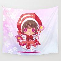 chibi Wall Tapestries featuring Chibi Sakura by Neo Crystal Tokyo