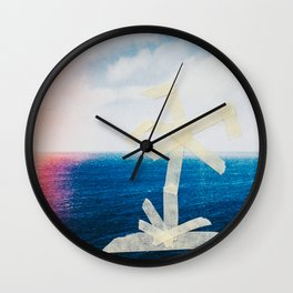 Taped Palm Tree on Printed Photo of Ocean Wall Clock