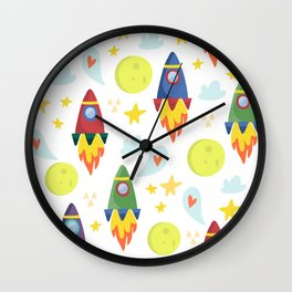 Rocket Ships Wall Clock