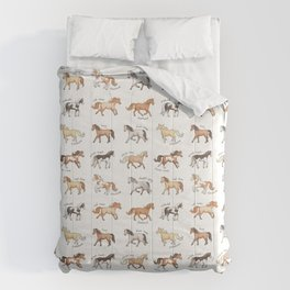 Horses - different colours and markings illustration Comforters