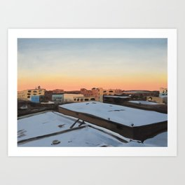 Snowy Bushwick, print of original oil painting Art Print