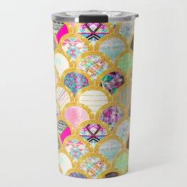 Modern Scallop Pattern Trendy Girly Gold Glitter Travel Mug