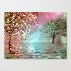 Surreal Fantasy Fairy Tale Aqua Pink Sparkling Fairylights Nature Trees Canvas Print