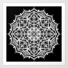 Black Heart Mandala Art Print