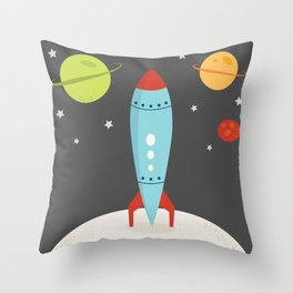 Space Rocket Throw Pillow