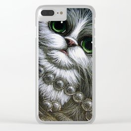 TUXEDO PERSIAN CAT with MOM'S PEARLS Clear iPhone Case