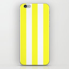 Electric yellow - solid color - white vertical lines pattern iPhone Skin