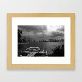B & W of Sydney Harbour Framed Art Print