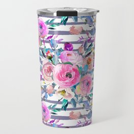 Pink mauve lilac hand painted watercolor roses floral stripes Travel Mug